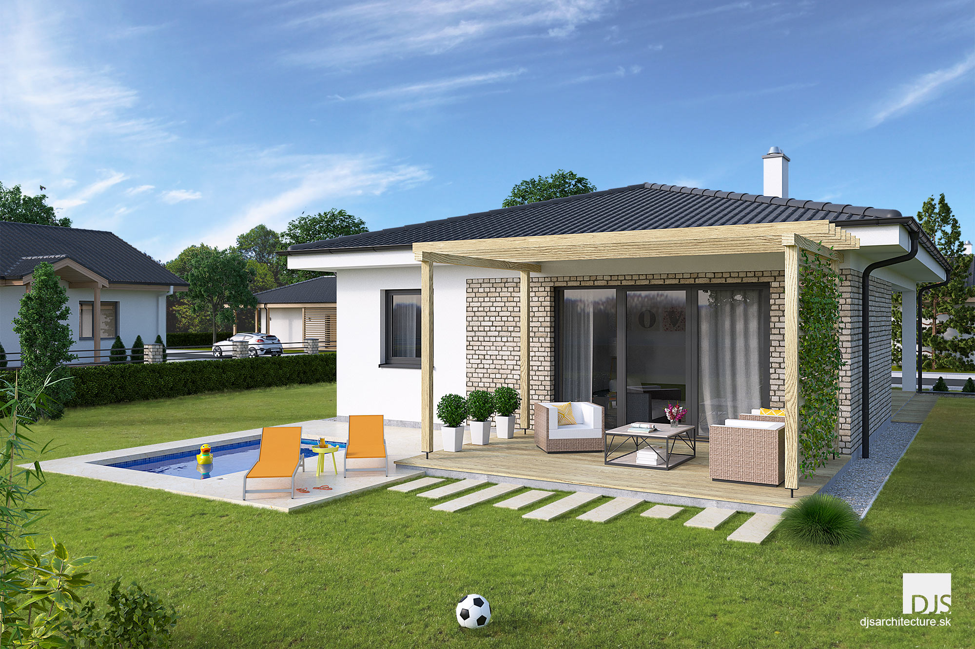 House plans - small l-shaped bungalow L75 | DJS Architecture on new house design plans, floating dock plans, biltmore estate elevation plans, vardo camper plans,