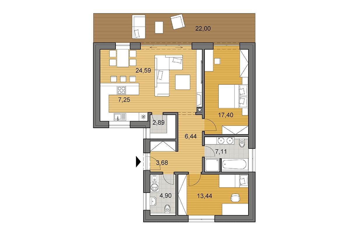 Projekt Domu V Tvare L Bungalov L90 Djs Architecture