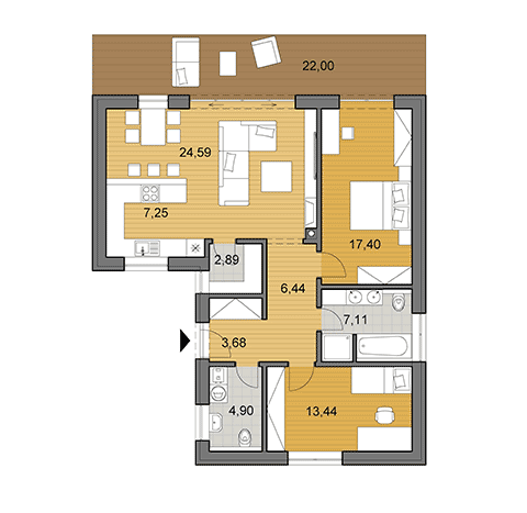 House plan of bungalow - 88 m2