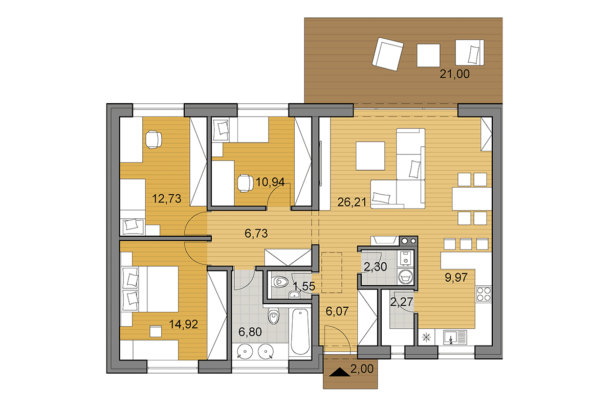 Bungalow O100 - Floor plan - Mirrored
