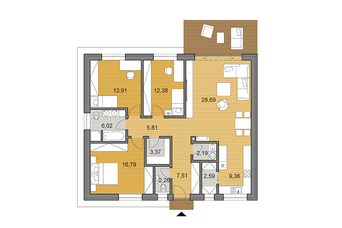 Bungalow O110 - Floor plan - Mirrored