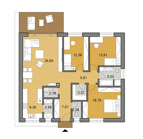 Bungalow O110 - House plans