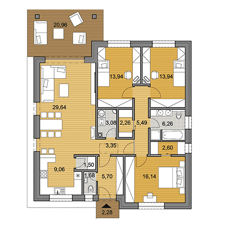House plan of bungalow O115