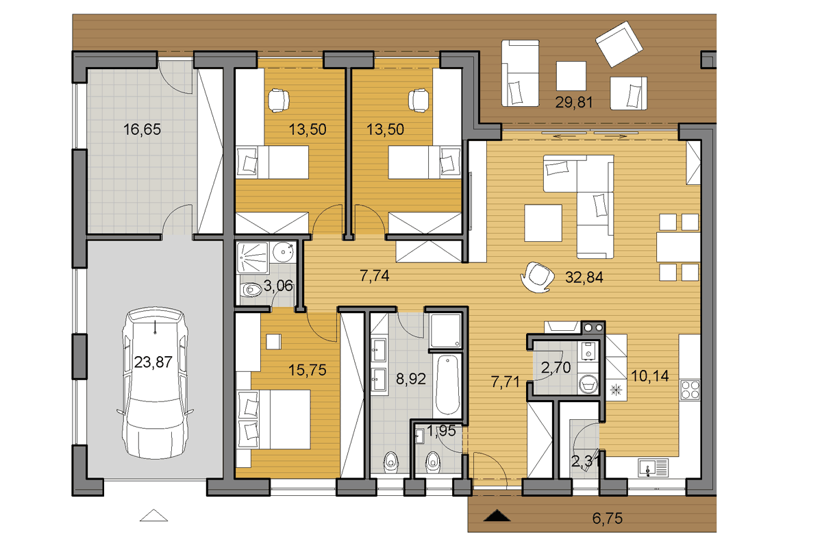 Bungalow O120G - Floor plan - Mirrored