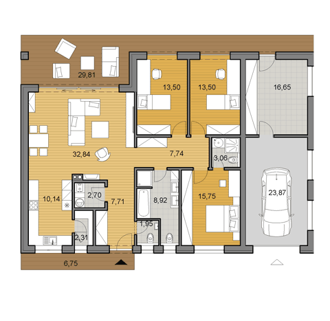 House plan of bungalow O120G