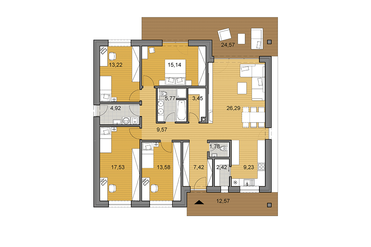 House plan O130 - Floor plan option with 4 bedrooms