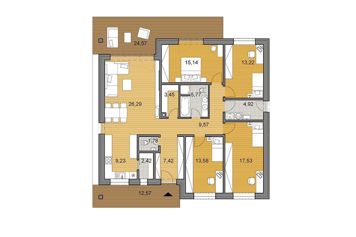 House plan O130 - Floor plan option with 4 bedrooms - Mirrored