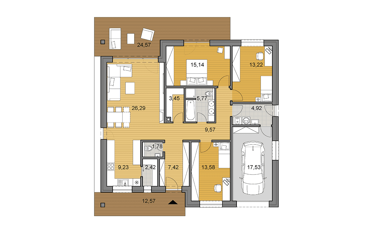 House plan O130 - Floor plan - Mirrored