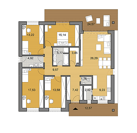 House plan of bungalow O130 - floor plan