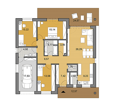 House Plan Of Bungalow O130   Floor Plan