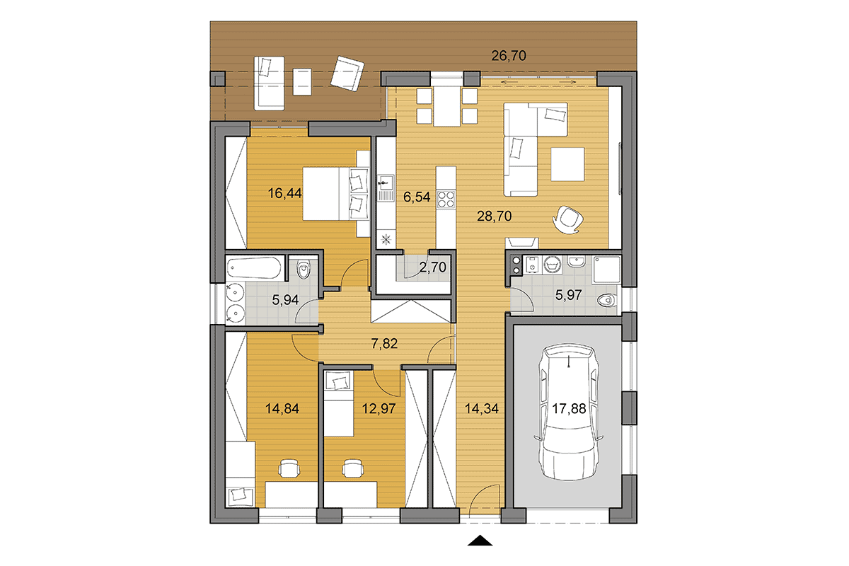 Bungalow O135 - Floor plan
