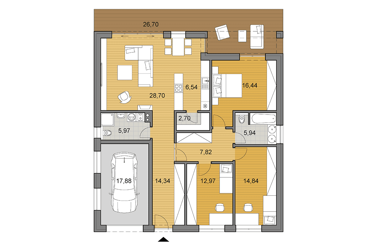 Bungalow O135 - Floor plan - Mirrored