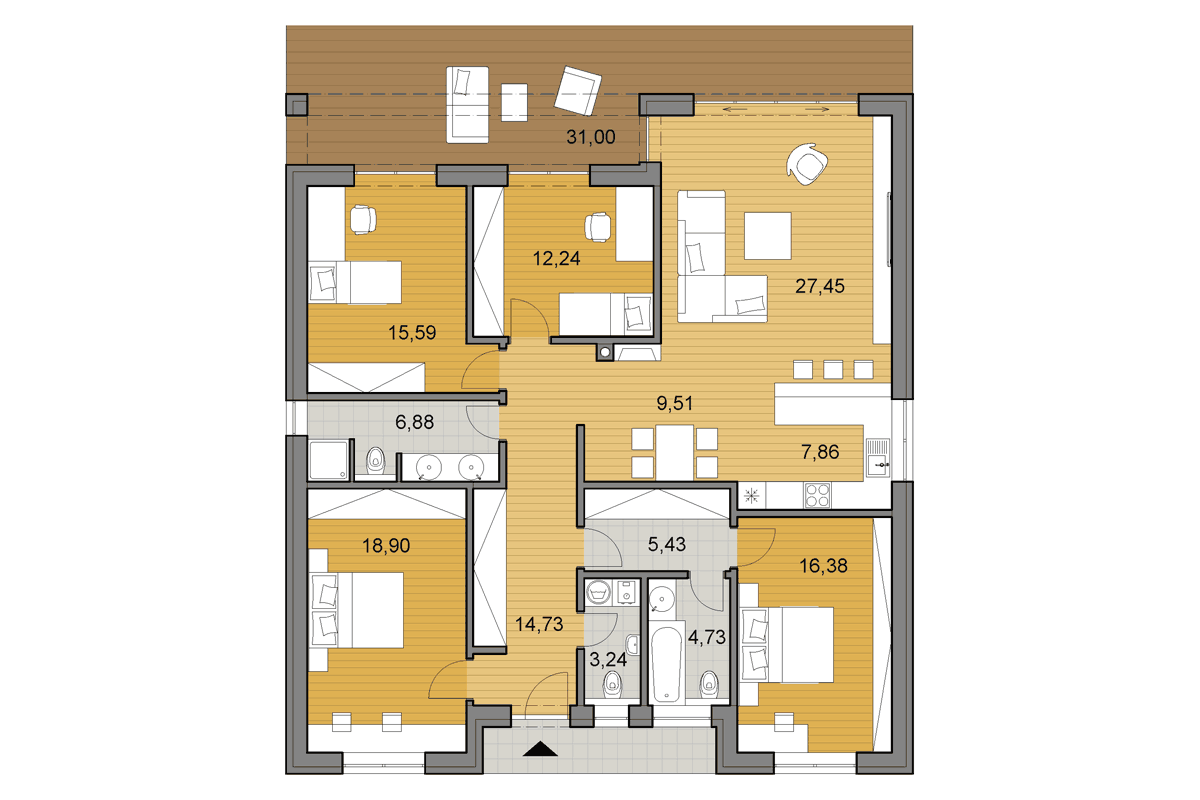 House plans - Bungalow O140 - Floor plan - 4 bedrooms