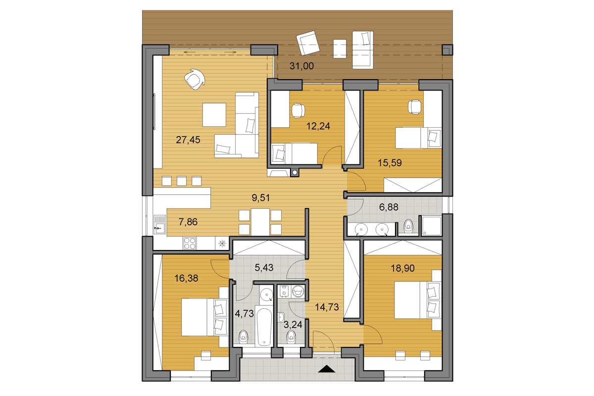 House plans - Bungalow O140 - Floor plan - 4 bedrooms - Mirrored