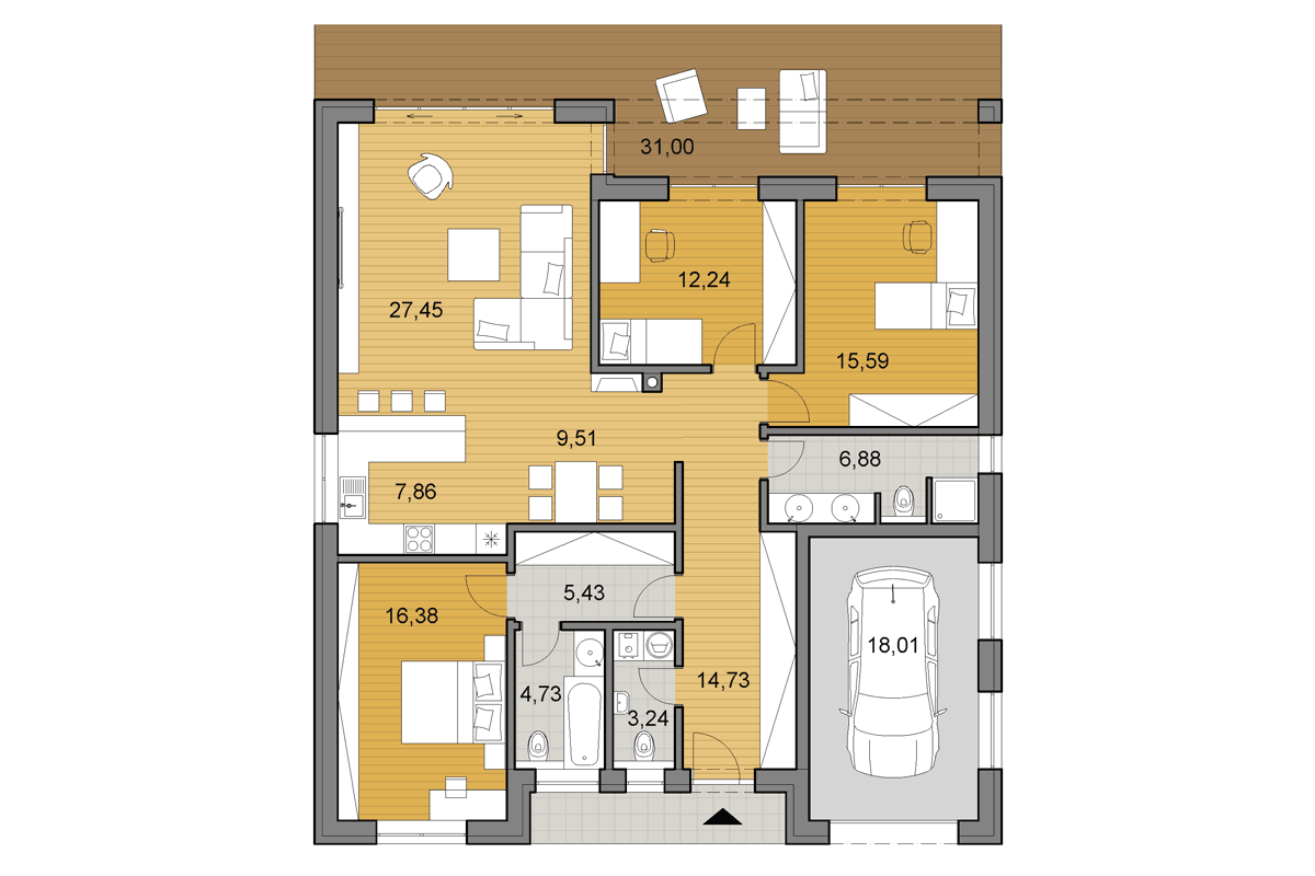 Bungalow O140 - Floor plan - Mirrored