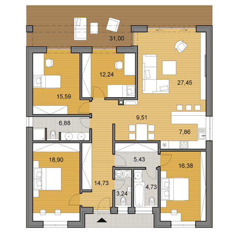 Bungalow O140 - Floor plan
