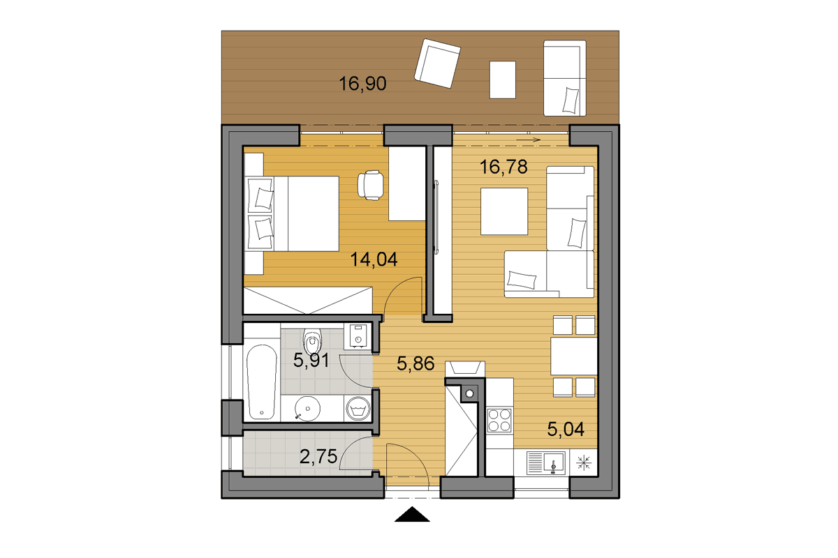 Bungalow O50 - Floor plan - Mirrored