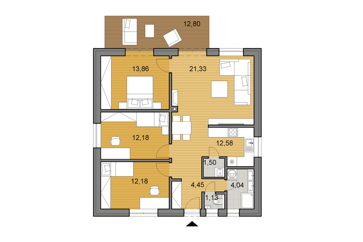 Bungalow O80 - Floor plan
