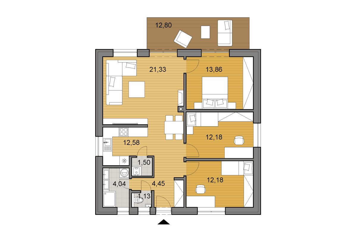 Bungalow O80 - Floor plan - Mirrored