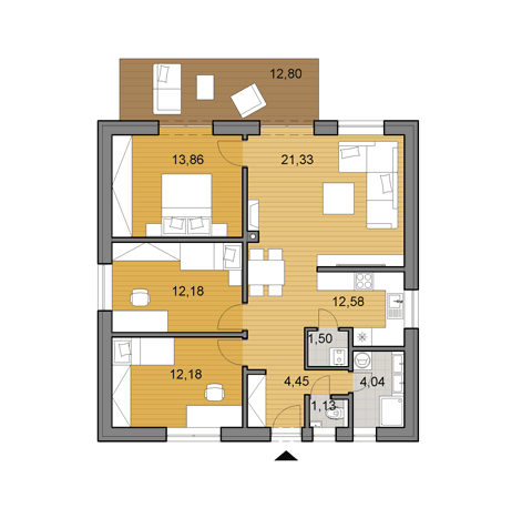House plan of bungalow O80