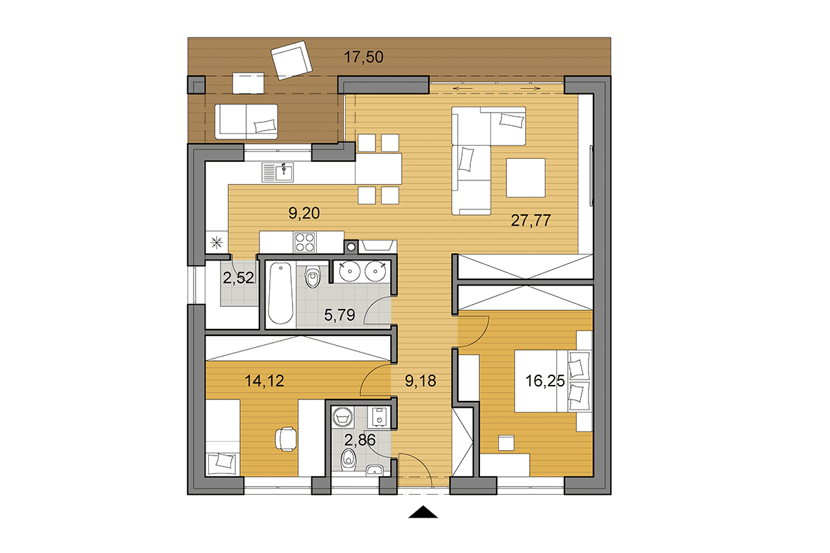 Bungalow O85 - Floor plan - Mirrored