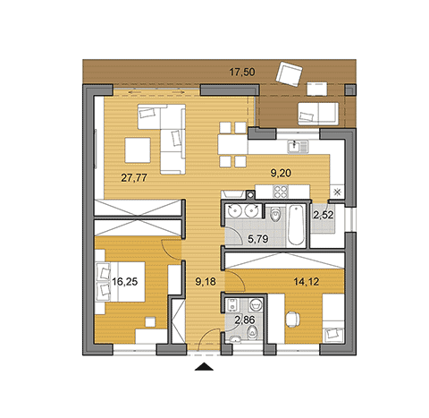House plan of small bungalow of 87 m2