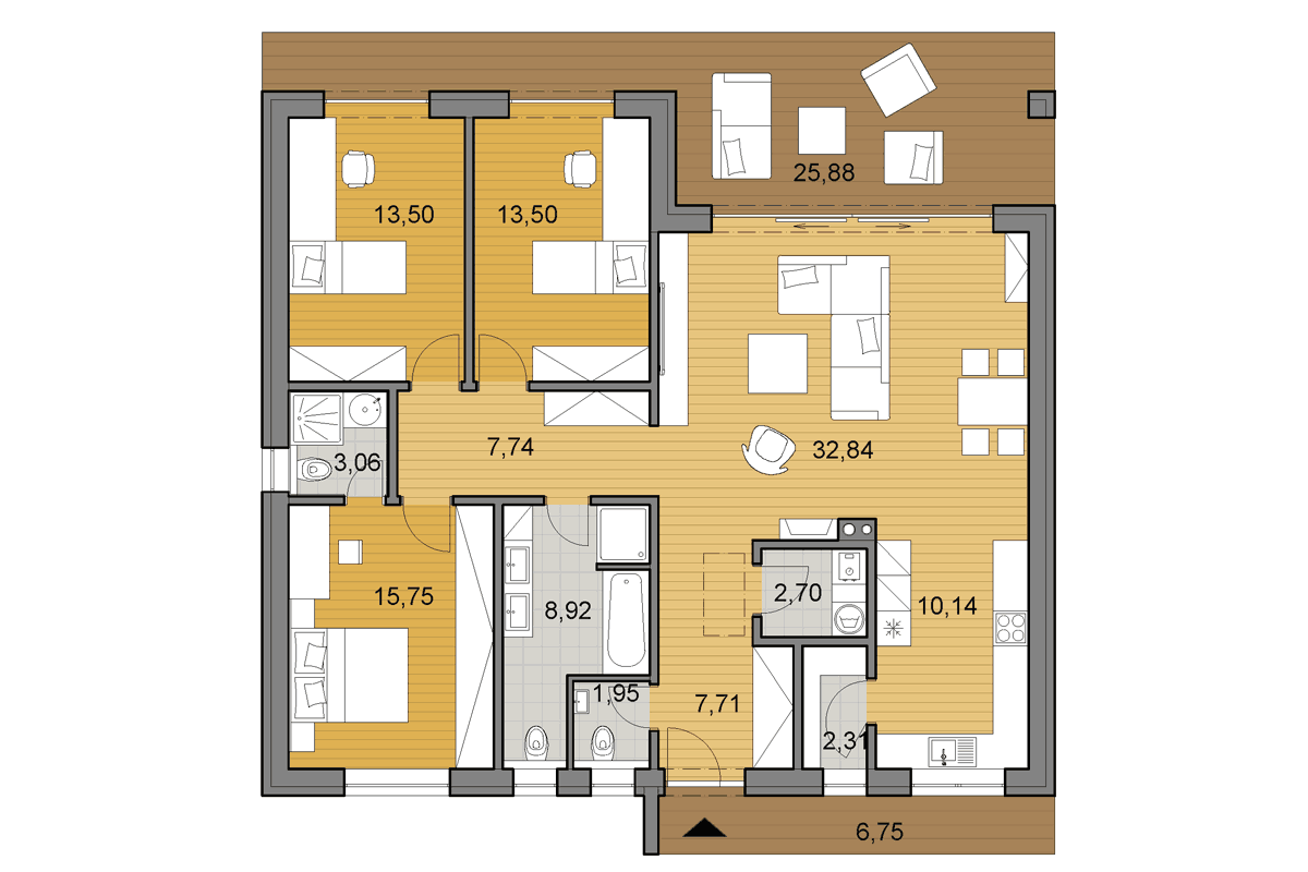 Bungalow O120 - Floor plan - Mirrored