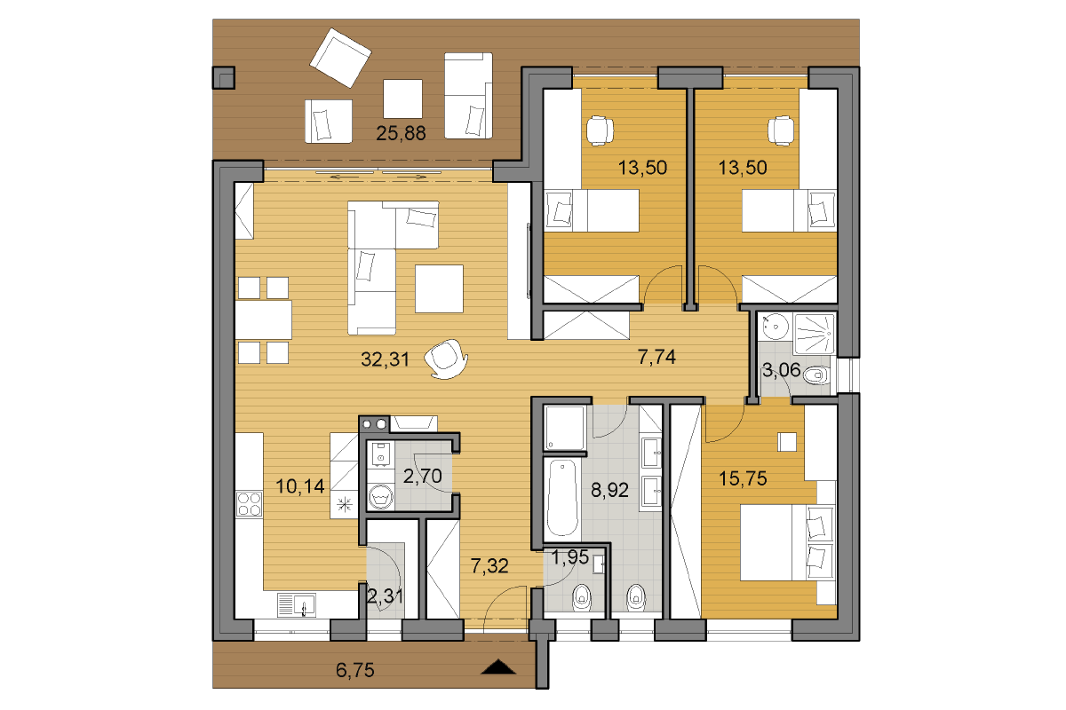 Bungalow O120P - Floor plan