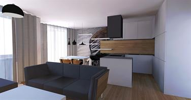 Interior of apartment in Rusovce - Living room and kitchen