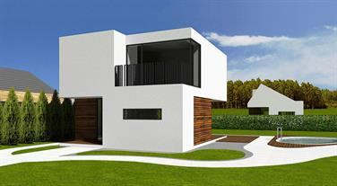 View of the house - variant with flat roof and white rendering