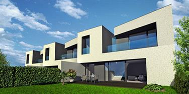 View from the street - optional finish in white render