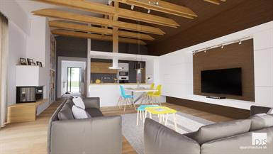 Bungalow - L135 - Living room with visible roof trusses